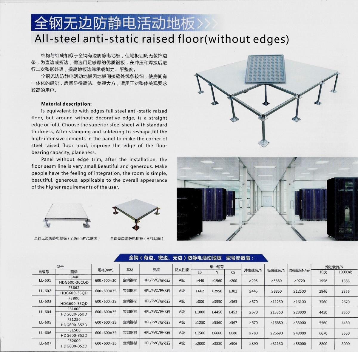 全鋼無邊防靜電活動地板