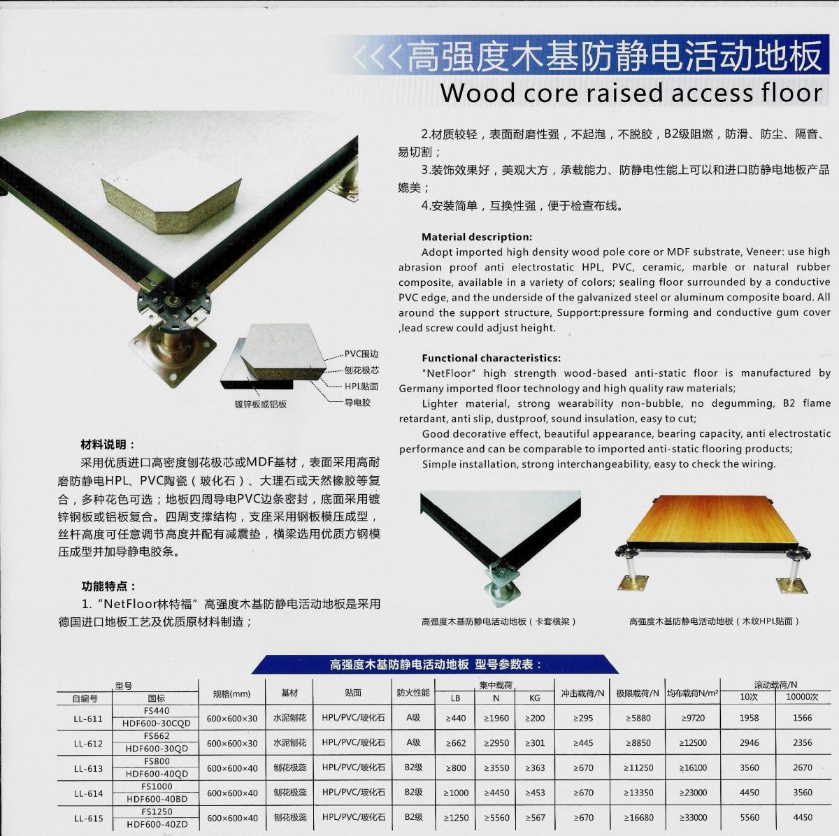 高強度木基防靜電活動地板
